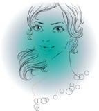 Mooie vrouw op blauw Stock Fotografie