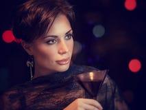 Mooie vrouw op de partij Stock Fotografie