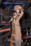 Mooie vrouw op de trein Royalty-vrije Stock Afbeeldingen