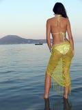 Mooie vrouw op het strand stock fotografie