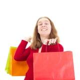 Mooie vrouw op het winkelen reis Stock Fotografie