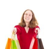 Mooie vrouw op het winkelen reis Stock Foto's