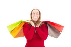 Mooie vrouw op het winkelen reis Royalty-vrije Stock Foto