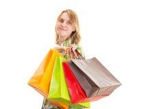 Mooie vrouw op het winkelen reis Stock Afbeeldingen