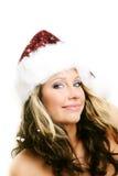 Mooie vrouw op Kerstmis Stock Foto's