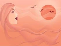 Mooie vrouw op overzees in zonsondergang stock illustratie