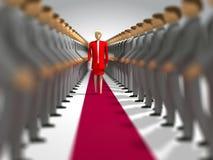 Mooie vrouw op rood tapijt royalty-vrije illustratie