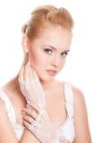 Mooie vrouw op wit stock foto