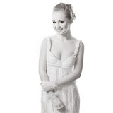 Mooie vrouw op wit Stock Afbeeldingen