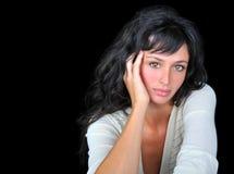 Mooie vrouw op zwarte achtergrond. Royalty-vrije Stock Foto