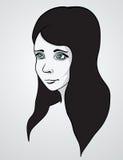 Mooie vrouw portrair. Vectorillustratie Stock Foto's
