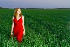 Mooie vrouw in rode avondjurk in gras Royalty-vrije Stock Afbeelding