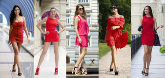 Mooie vrouw in rode kleding royalty-vrije stock fotografie