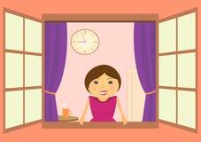 Mooie vrouw in venster met klok en koffie Royalty-vrije Stock Afbeelding