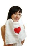 Mooie vrouw in witte handdoek Royalty-vrije Stock Foto's