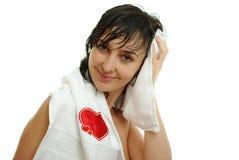 Mooie vrouw in witte handdoek Royalty-vrije Stock Afbeelding