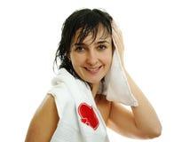 Mooie vrouw in witte handdoek Royalty-vrije Stock Afbeeldingen