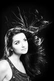 Mooie vrouw in zwart-wit Stock Fotografie