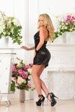 Mooie vrouw in zwarte kleding in luxestudio. royalty-vrije stock foto