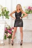 Mooie vrouw in zwarte kleding in luxestudio. royalty-vrije stock fotografie