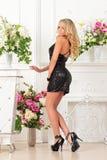 Mooie vrouw in zwarte kleding in luxestudio. stock afbeelding