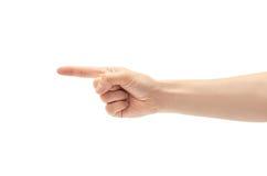 Mooie vrouwelijke handtelling één gebaar Geïsoleerdj op witte achtergrond royalty-vrije stock afbeelding