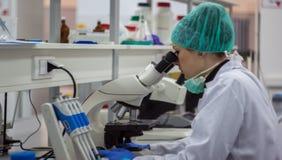 Mooie vrouwelijke medische of wetenschappelijke onderzoeker of vrouwendocto Stock Foto's