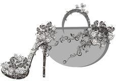 Mooie vrouwelijke schoenen en zakken vector illustratie