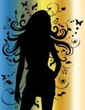 Mooie Vrouwelijke Sexy Dame Silhouette Royalty-vrije Stock Afbeeldingen