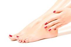 Mooie vrouwelijke voeten en handen Royalty-vrije Stock Afbeeldingen
