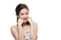 Mooie vrouwen Aziatische gelukkig glimlachend met goede gezond van huid uw geïsoleerd gezicht Stock Afbeeldingen