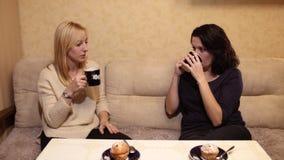 Mooie vrouwen die koffie in koffie en het spreken drinken HD stock videobeelden