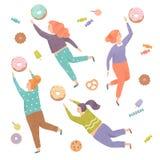 Mooie vrouwen die uit voor de snoepjes proberen te bereiken Vector Illustratie