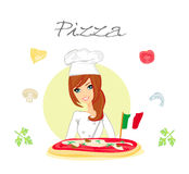 Mooie vrouwen dienende pizza Stock Fotografie