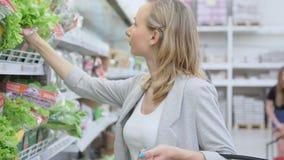 Mooie vrouwen het winkelen groenten en vruchten in supermarkt, verse salade stock videobeelden