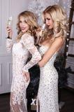 Mooie vrouwen met champagne in handen, het vieren Nieuwjaar stock foto's