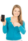 Mooie vrouwenpunten bij telefoon Stock Foto