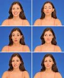 Mooie vrouwenuitdrukkingen Stock Afbeelding