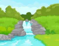 Mooie waterval vector illustratie