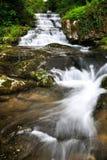 Mooie waterval langzame motie in de zomer Royalty-vrije Stock Afbeeldingen