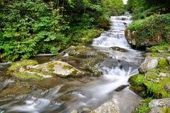 Mooie waterval langzame motie in de zomer Royalty-vrije Stock Foto's