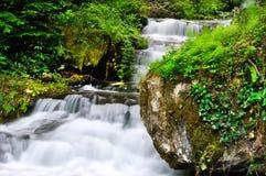 Mooie waterval langzame motie in de zomer Stock Afbeeldingen