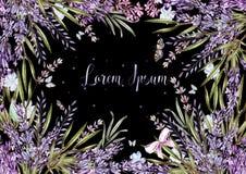 Mooie waterverfkaart met lavendelbloemen en installaties stock illustratie