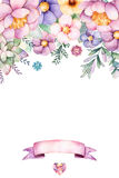 Mooie waterverfkaart met plaats voor tekst met pioen, bloemen, gebladerte, succulente installatie, tak, en lint vector illustratie