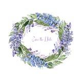 Mooie waterverfkroon met bloemen van wisteria en sneeuwklokjes stock illustratie