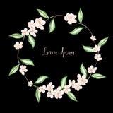 Mooie Waterverfkroon met de lentebloemen en bladeren royalty-vrije illustratie