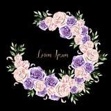 Mooie Waterverfkroon met rozenbloemen en bladeren stock illustratie