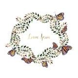 Mooie Waterverfkroon met vlinder en bladeren royalty-vrije illustratie
