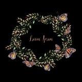 Mooie Waterverfkroon met vlinder en bladeren vector illustratie