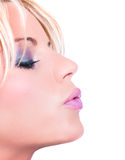 Mooie womanl die een kus blaast Royalty-vrije Stock Afbeelding